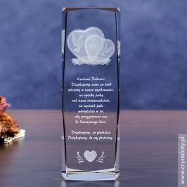 Zachwyć rodziców personalizowanym kryształem 3D »Gołąbki Miłości«