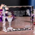 Kryształ 3D z motywem »chleb i wino« i Twoją dedykacją!