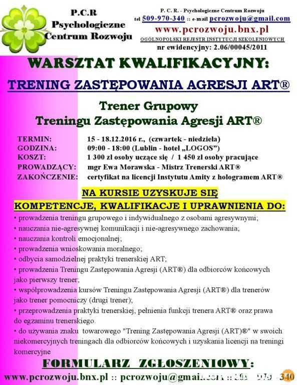 KURS KWALIFIKACYJNY: Trening Zastępowania Agresji TZA - ART