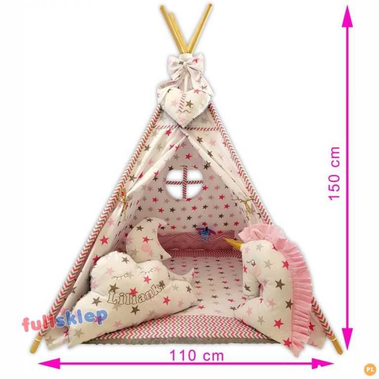 Namiot Tipi z jednorożcem gwiazdki różowe z haftem imienia