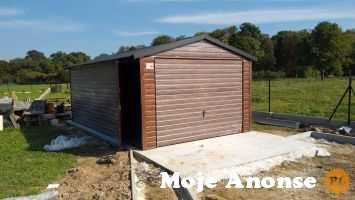 Garaż drewnopodobny - orzech / dwuspad / okucia / br uchylne
