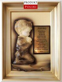 Obraz z dedykacją (grawerem) dla chłopca na KOMUNIĘ - CHRZCINY