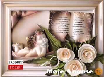 Piękny obrazek z dedykacją i aniołkiem na CHRZEST - KOMUNIĘ