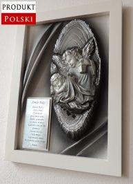 Pamiątka Chrztu posrebrzany obraz z Aniołem Stróżem + dedykacja