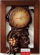Nowoczesny zegar ze skóry z winogronem - Oryginalny wzór - RZ3-1