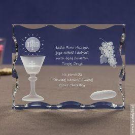 Kryształ 3D z motywem kielicha i chleba na I Komunię Świętą